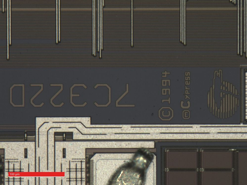 Optical micrograph of the 5962-8984106LA die markings.